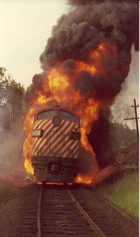 CPR F7 Loco on fire
