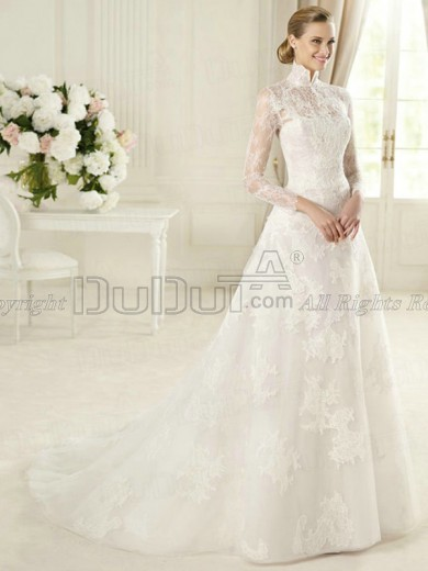 A-line Lace High neck Long Sleeve Sweep Bowknot Wedding Dresses,