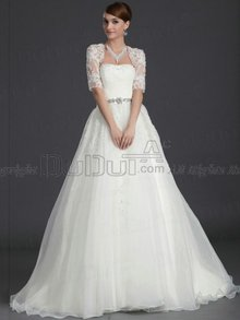Ball Gown Tulle Tube Top Half Sleeve Sweep Lace Crystal/Rhinesto