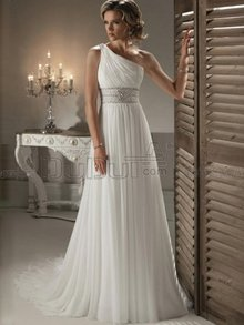 A-Line One Shoulder Sweep Beach Wedding Dress With Applique Bead